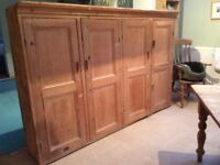 Large antique Victorian stripped pine (hall) cupboard