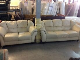Cream leather 3+2 seater sofa