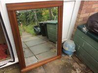 Large vintage wooden frame bevellled edge wall mirror