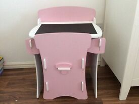 Girls wooden pink desk and chair