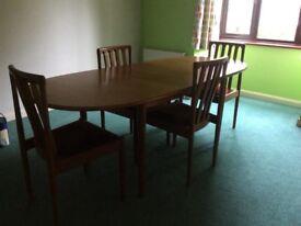 MEREDEW teak extending dining table & 4 chairs