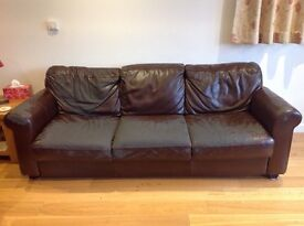 Two brown 3/4 seater DFS leather sofas