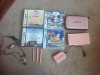 Nintendo DS PINK. with case, 4 games, Chargers and pink headphones