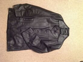Mens black leather Ben Sherman jacket