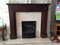 Gas fire, marble hearth with background and fire surround