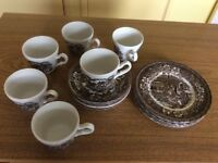 """Coaching Taverns 1828 6 x 7"""" Plates and 6 x Tea Cups and Saucers"""