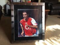 Framed Robert Pires Arsenal signed picture,