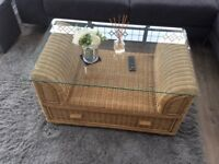 Whicker coffee table with glass top good condition