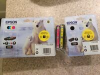 Seven Brand new no26 Epson printer cartridges sealed in packaging, compatible with many XP printers