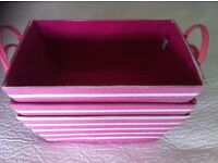 3 pink and white Jojo Maman Bebe storage baskets