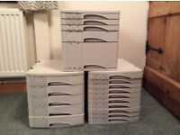 3 x Rotho table or desk top filing draws