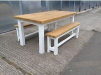 New solid pine dining table benches bench chairs 6ftx3ft handmade rustic shabby chic farmhouse