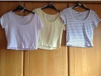 3 x size 12 crop T/shirts. Clean and immaculate. Price is for All 3 and NOT EACH !! Hols/uni/bed ?