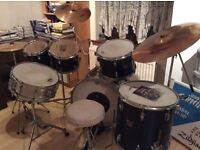 DRUM KIT 3 piece TAMA added TOMS, SNARE dark blue ZILDJIAN symbols, stool and sticks