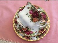 "Royal Albert 1st Quality ""Old Country Rose's Bone China Trio."