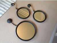 Set of 3 Industrial Round Mirrors from Rockett St George