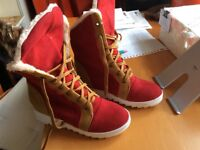 Lace-up warm faux fur lining mid-calf women boots red/creme seize 38/38,5
