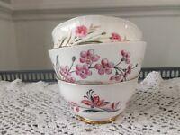 3 Pink Floral Bone China Sugar Bowls.