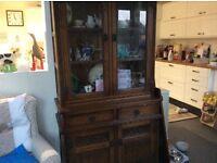 Old Charm Oak Dresser with Leaded Glass Display Windows.