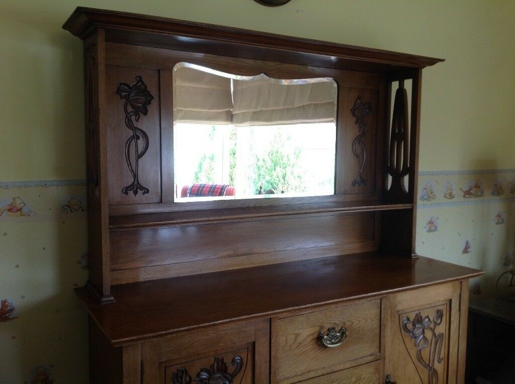 Solid Oak Antique Sideboard Dresser With Mirror 150ono In