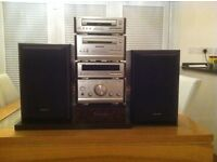 Technics HD51 4 stack stereo with teak effect sides, 2 x speakers and teak effect display stand.