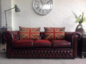 Oxblood Chesterfield sofa. Can deliver.