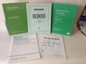 Collection of sheet music for clarinet and piano