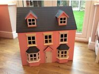 Beautiful, large, pink wooden dolls house with furniture - fantastic condition!
