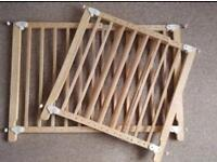 Pair of adjustable wooden stair gates