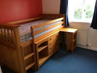Children's midi sleeper with 4 x drawers, wardrobe space and pull out desk
