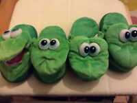 2 pairs of Stompeeze dragon slippers sizes small and medium