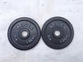 2 x 3lb (1.3kg) Weider v1 Standard Cast Iron Weights