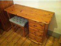 Solid Pine 3 Drawer Dressing Table / Dresser + Stool