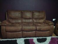 Brown leather three seater sofa x2