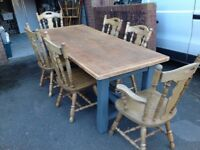 LARGE FARMHOUSE RUSTIC COUNTRY/KITCHEN TABLE AND SIX MATCHING CHAIRS-can deliver
