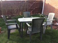 Garden table & chairs with parasol