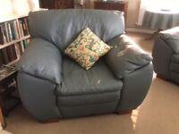 Large teal leather armchair in excellent condition