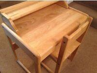 Children's wooden desk with chair