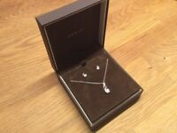 Ernest Jones Sterling Silver and Cubic Zirconia Earring and Pendant Set Brand New