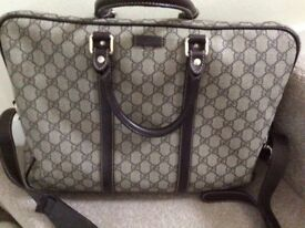 Gucci Briefcase with brown leather trim