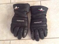 Black leather motorcycle gloves size large