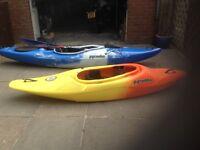 Pyranha 242 Inazone (yellow/orange) and Fusion Connect 30L (blue/white) Kayaks.
