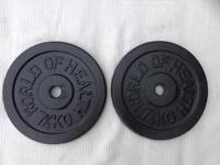 2 x 7.5kg World of Health Standard Cast Iron Weights