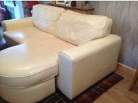 Cream leather settee with either end chaise lounge