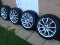 "Genuine Mercedes SLK R171 17"" recently refurbished alloy wheels 225/45 & 245/40 continental tyres"