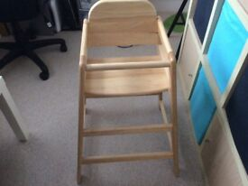 East coast light wood high chair. Very good condition, but no reigns £8 ono