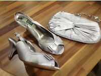Silver satin sandals and matching clutch bag