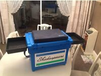 Official Large Blue Shakespeare Seat Box & Seat cushion X 2 bait side trays