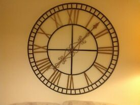 Ornamental steel 4 ft diameter Roman numerals clock