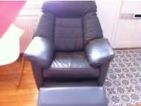 Grey leather recliner- free delivery in edinburgh